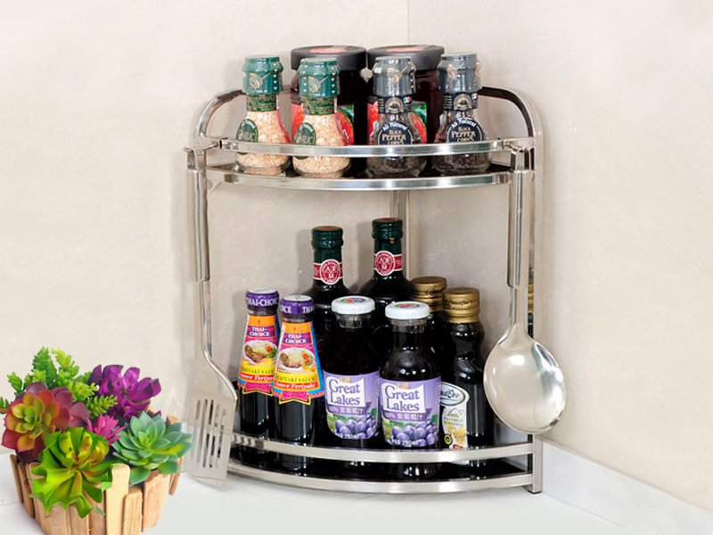 2 Tier Spice Jar Rack Kitchen Storage Organiser