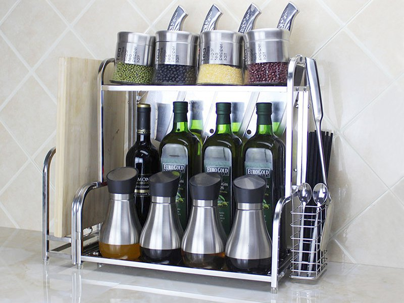2 Tier Stainless Steel Spice Jar Rack Organiser