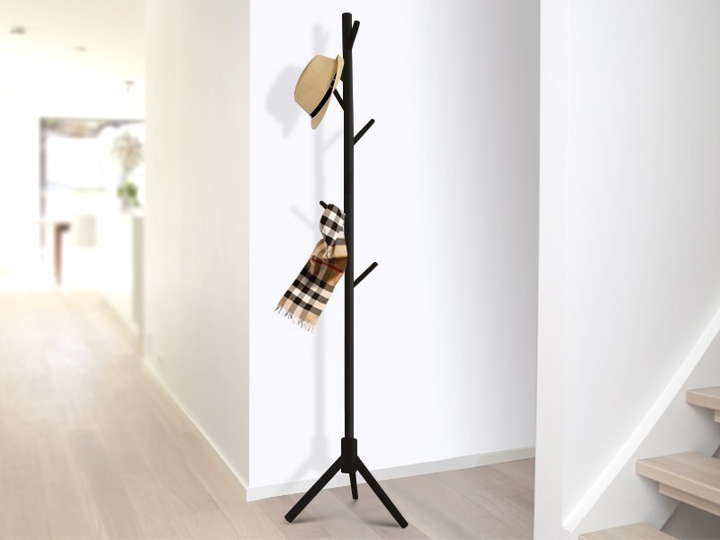 Standing Wooden Clothes Rack - Black