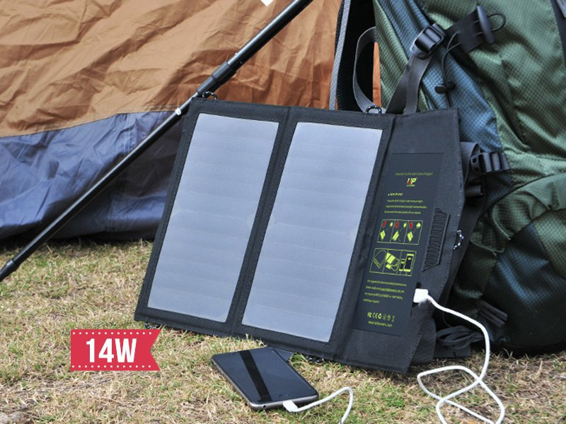 14W Folding Solar USB Power Charger Panel