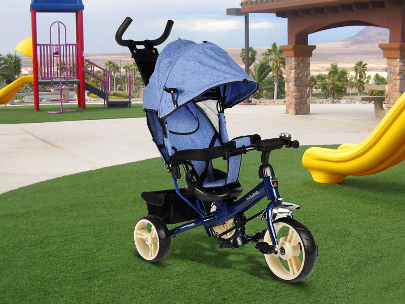 Kids Tricycle with Parent Control - Blue