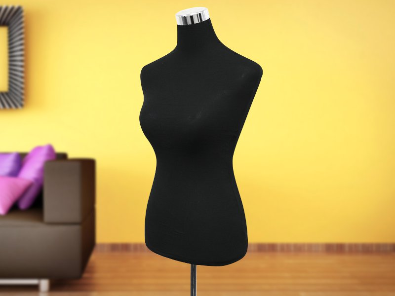 Mannequin Female Torso with Stand - Black
