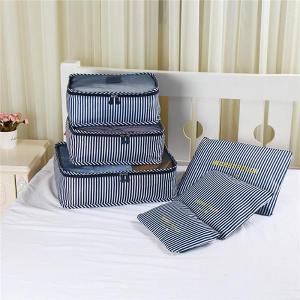 6pc Waterproof Travel Organiser - Navy Blue