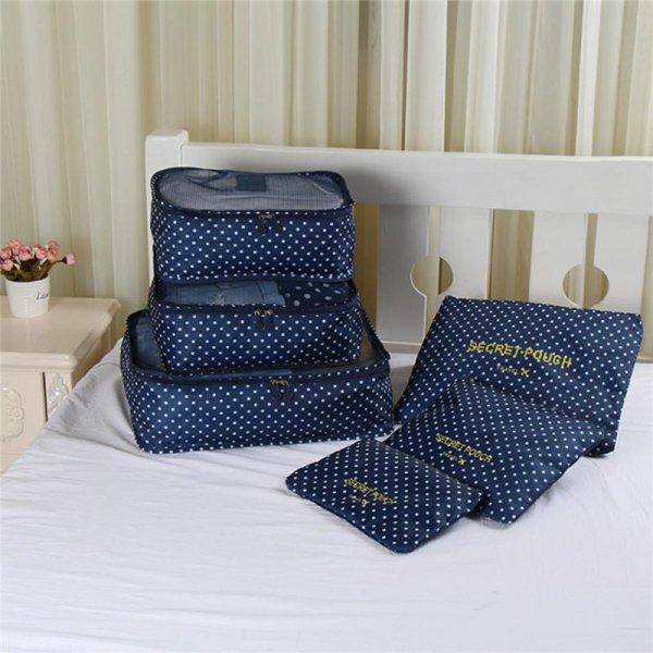 6pc Waterproof Travel Organiser - Dark Blue