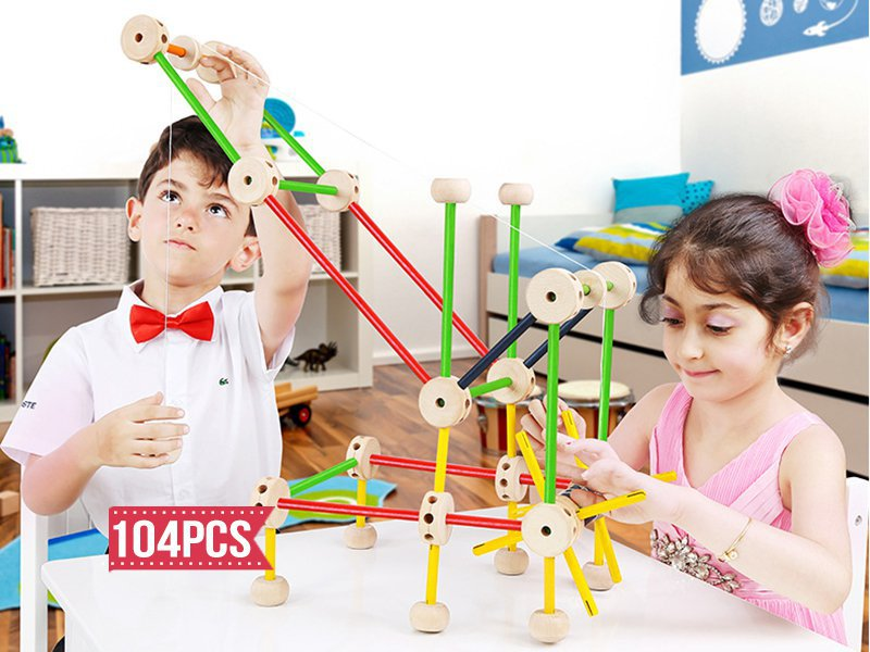104PC Wooden Tinkertoy Construction Set