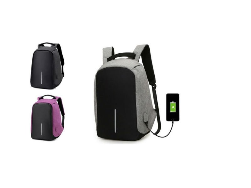 Anti-Theft Backpack With USB Charging Port-Purple