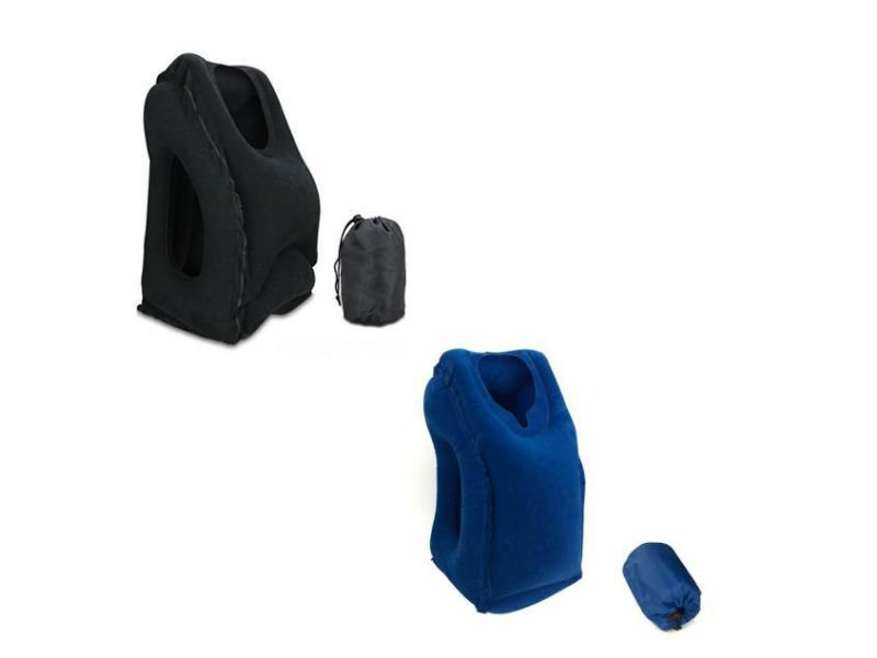 Inflatable Travel Pillow With Carry Case - Blue