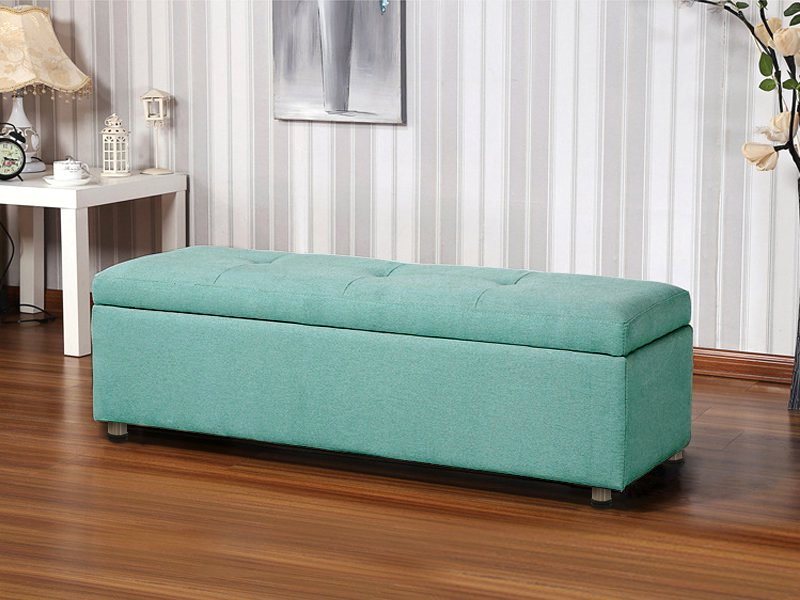Elegant Cloth Storage Ottoman - Cyan