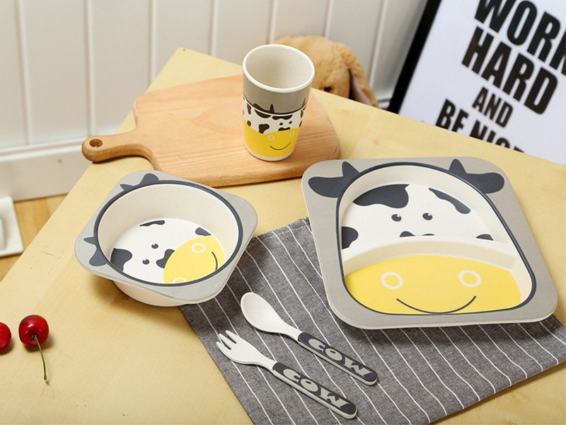 Bamboo Fiber Kids Tableware - Cow