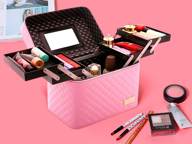 Multi Layer Cosmetic Bag Makeup Carry Case - Pink