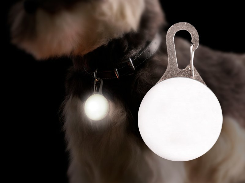 Flashing LED Pet Collar Pendant - White