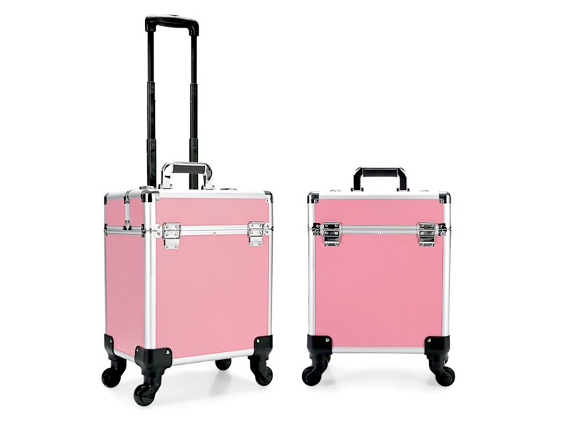 Cosmetic Case Makeup Bag On Wheels Pink