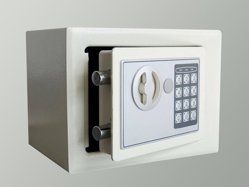 Digital Safe Security Box with 2 Keys - White