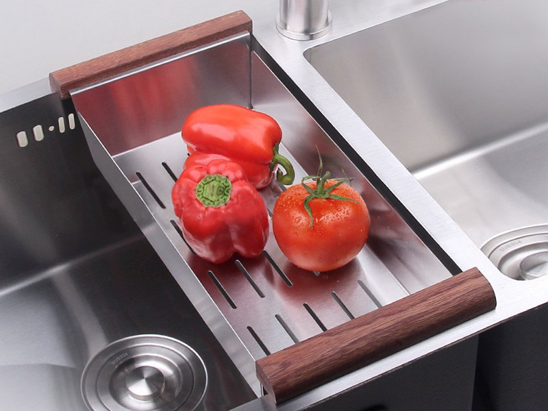 Over-The-Sink Stainless Steel Colander
