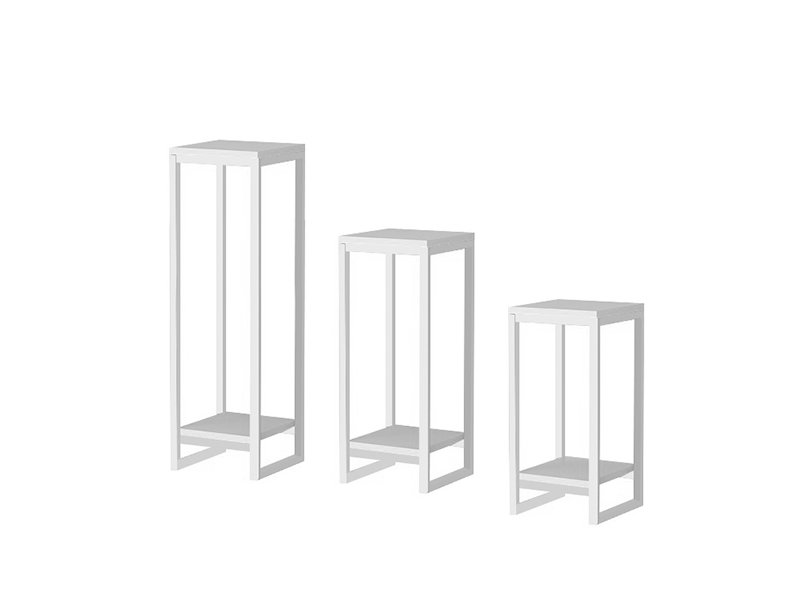 Square Shaped Plant Stands Set of 3 - White