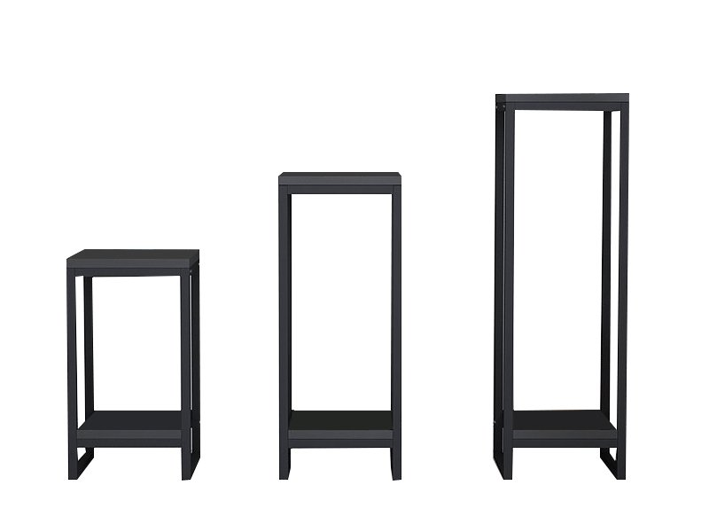 Square Shaped Plant Stands Set of 3 - Black