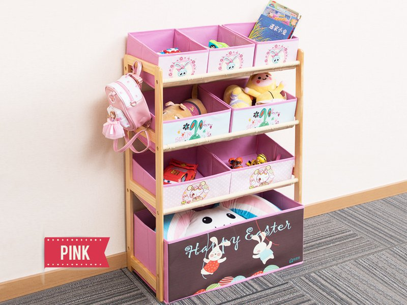 Children's Toys Storage Rack with 6 Bins - Pink