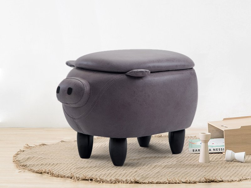 Kids Piggy Wooden Storage Stool