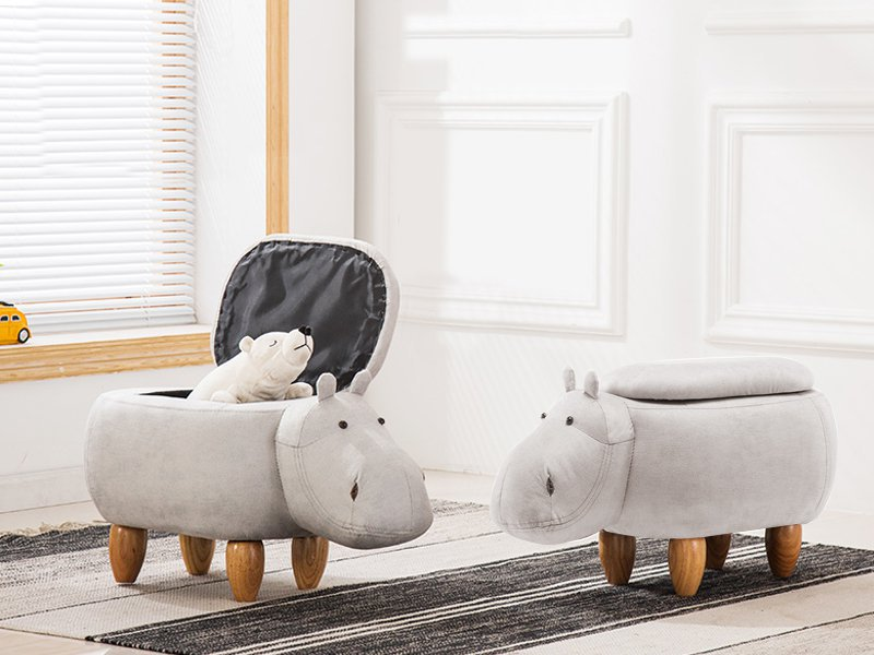 Kids Hippo Wooden Storage Stool