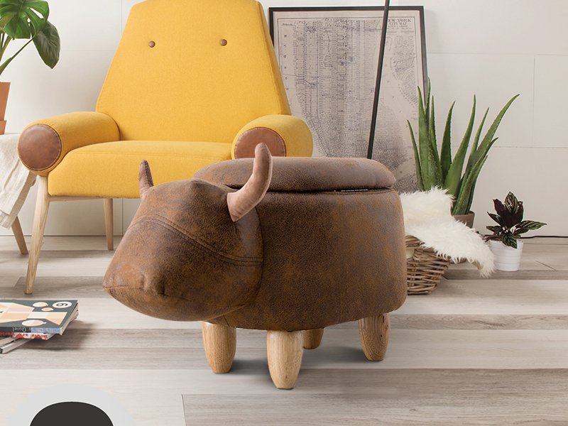 Kids Buffalo Design Wooden Stool
