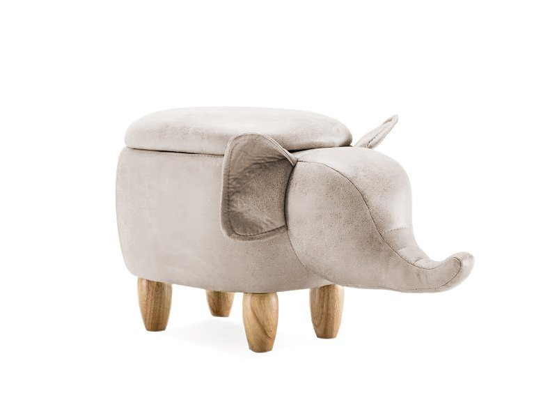 Kids Elephant Wooden Storage Stool