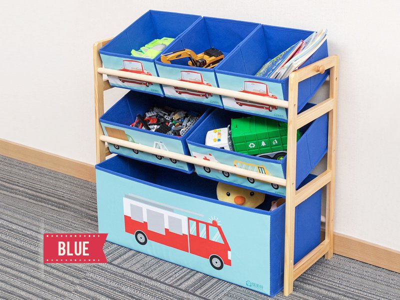 Children's Toys Storage Rack with 6 Bins - Blue