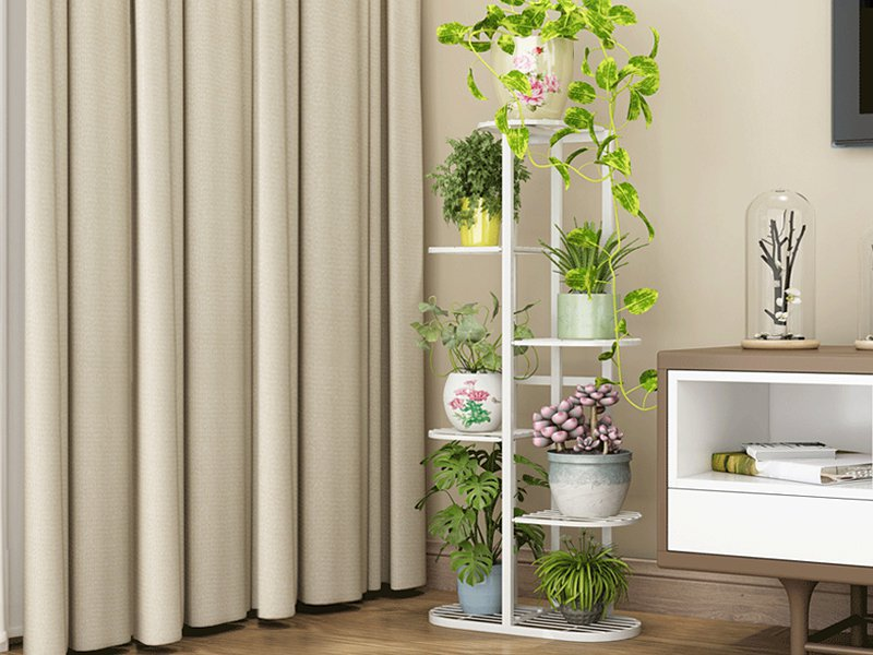 6 Tier Flower Plant Pot Stand - White