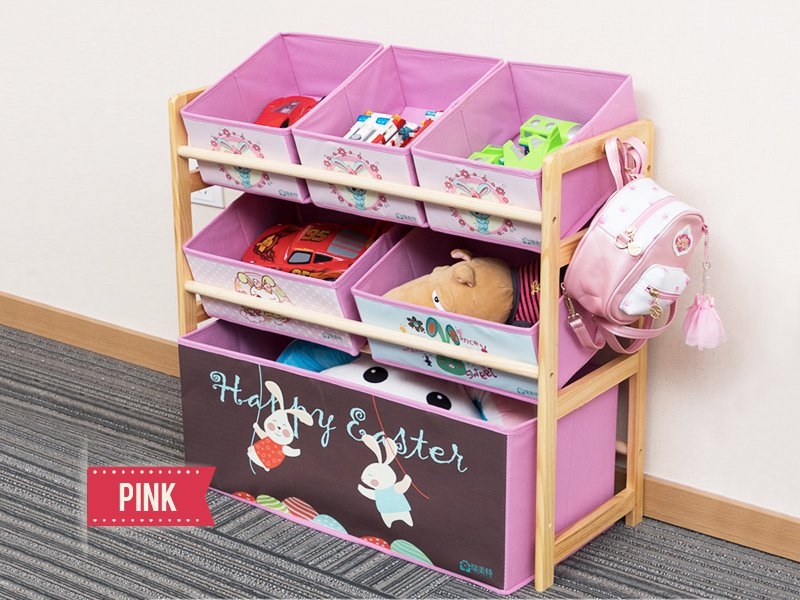 Children's Pink Toy Storage Shelf with 6 Bins