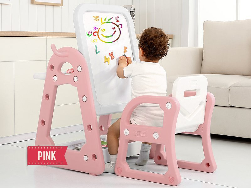 Kids Activity Table with Drawing Board - Pink
