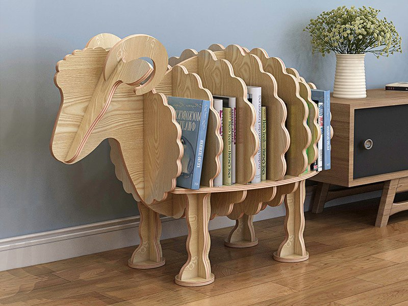 Children's Wooden Animal Bookshelf - Goat