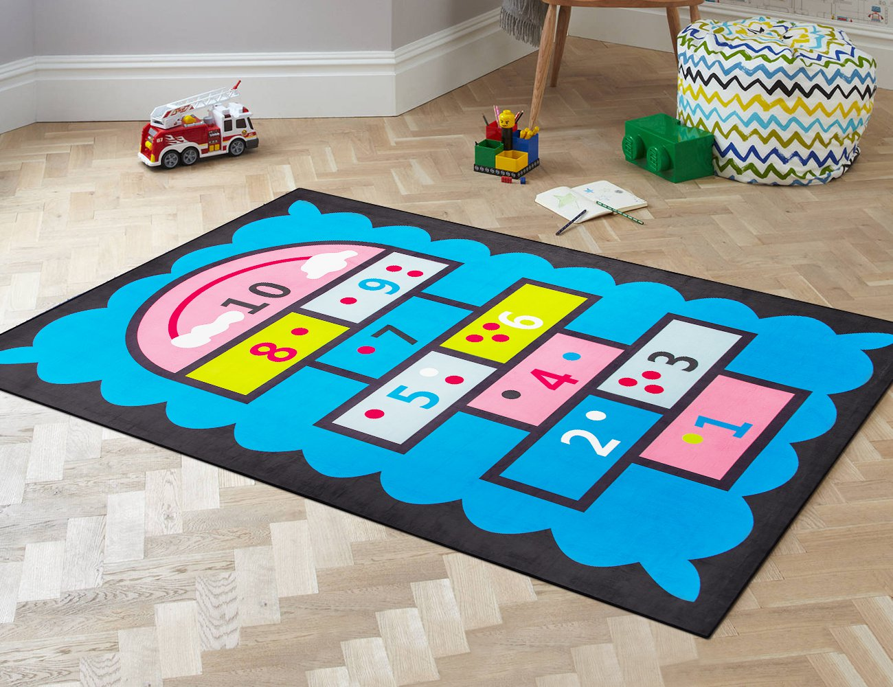 Kid's Rug 140 x 200cm - Blue Hopscotch