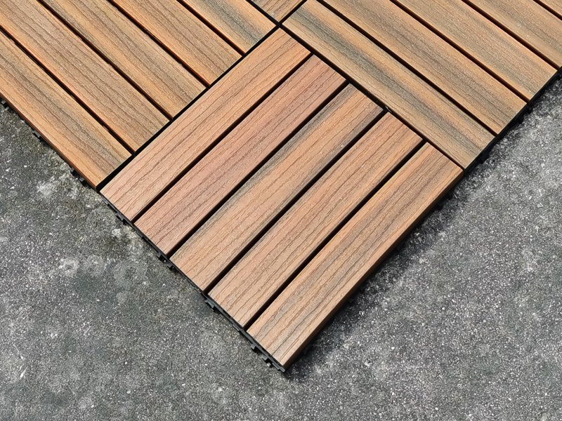22pc Wood-Look Outdoor Floor Tiles - 30x30x2.5cm