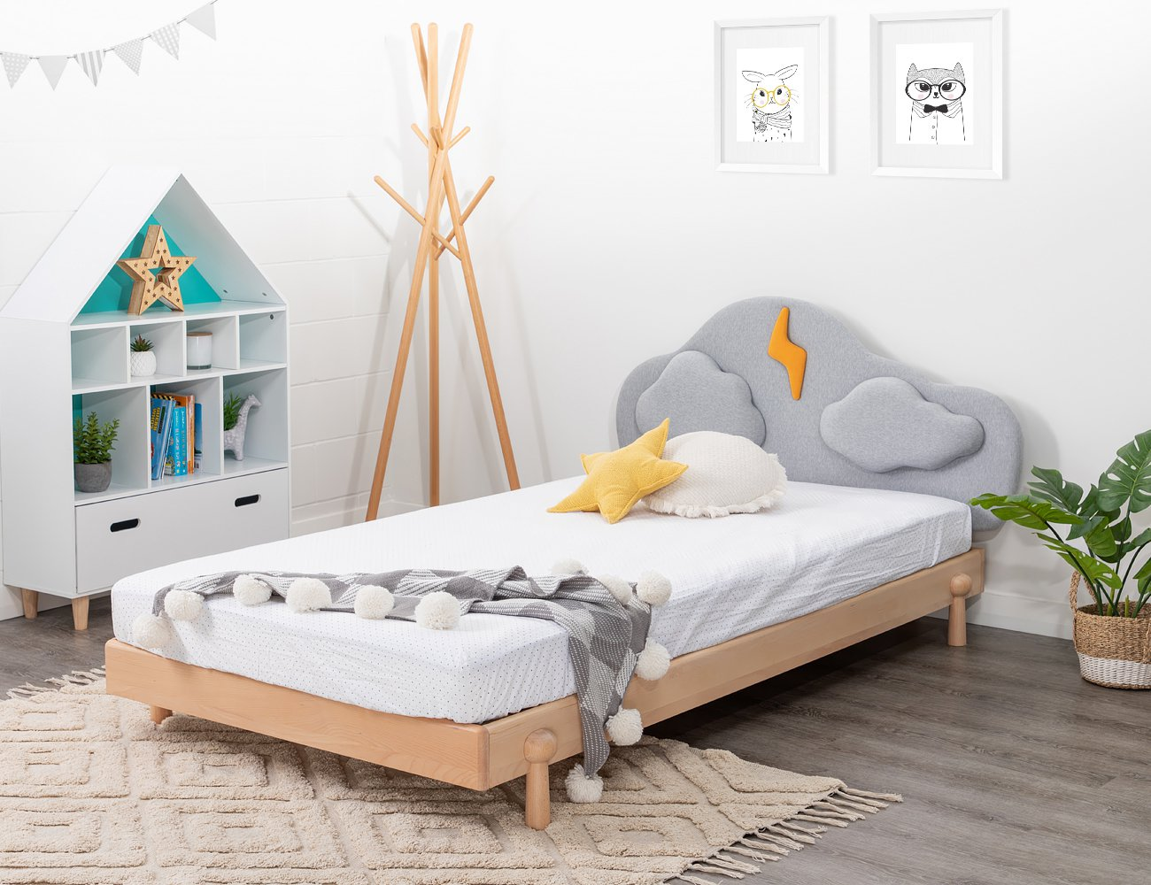 Cloud Beech Wood Single Bed Frame