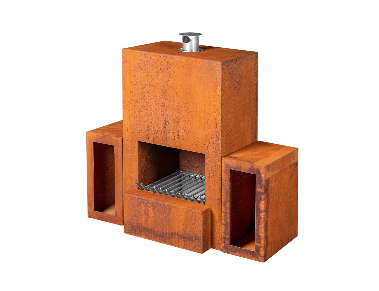 Orpheus Corten Steel Fireplace & Wood Storage Set