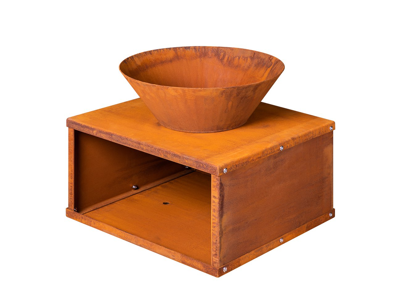 Pandora Corten Steel Bowl Brazier w/ Wood Storage