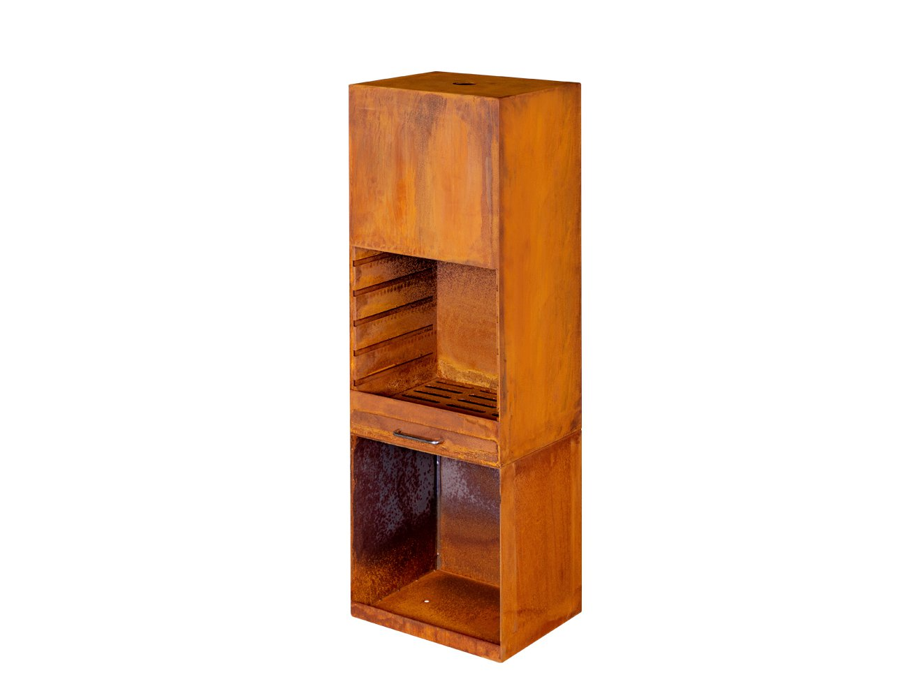 Talos Corten Steel Fireplace Tower w/ Wood Storage
