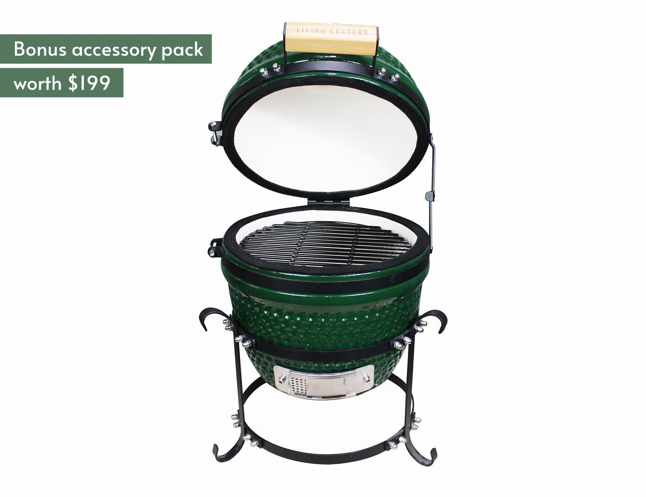 "13"" Kamado Green BBQ + Accessory Pack"
