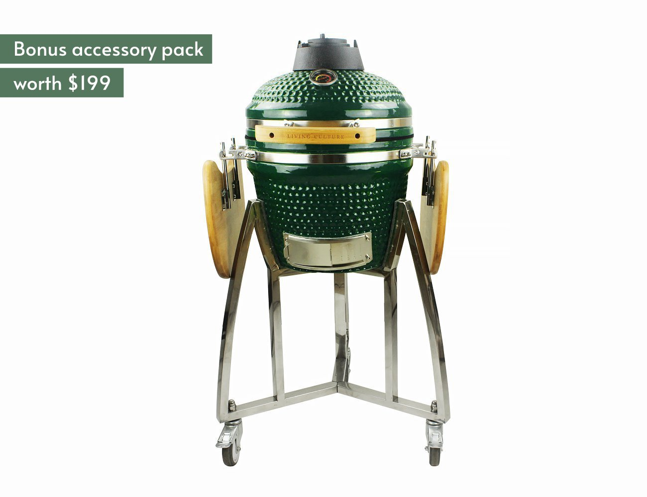 "16"" Kamado Green BBQ + Accessory Pack"