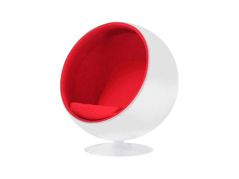 Classic Modern Ball Chair - White/Red