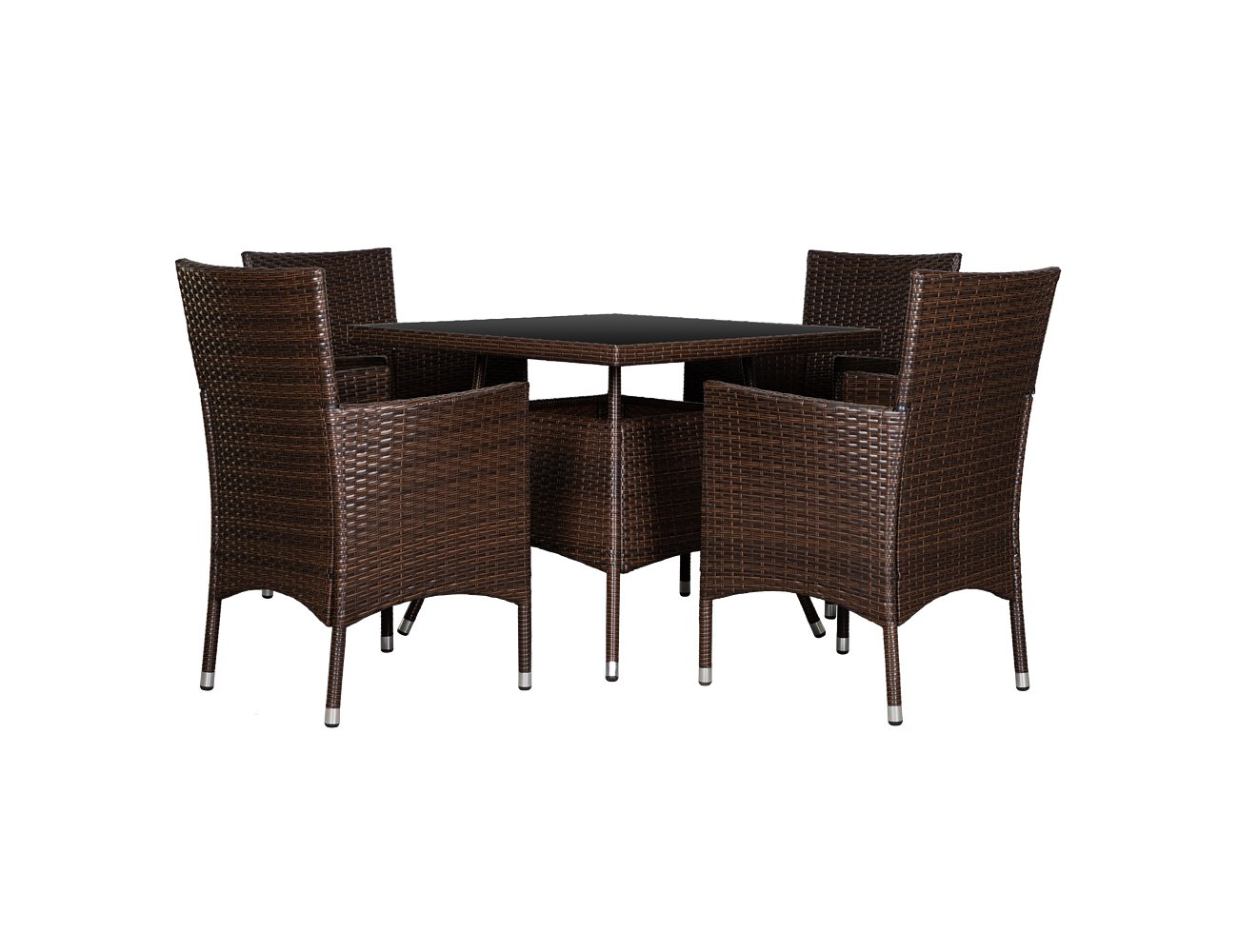 PE Rattan Table & Chairs Outdoor Set - 5pc