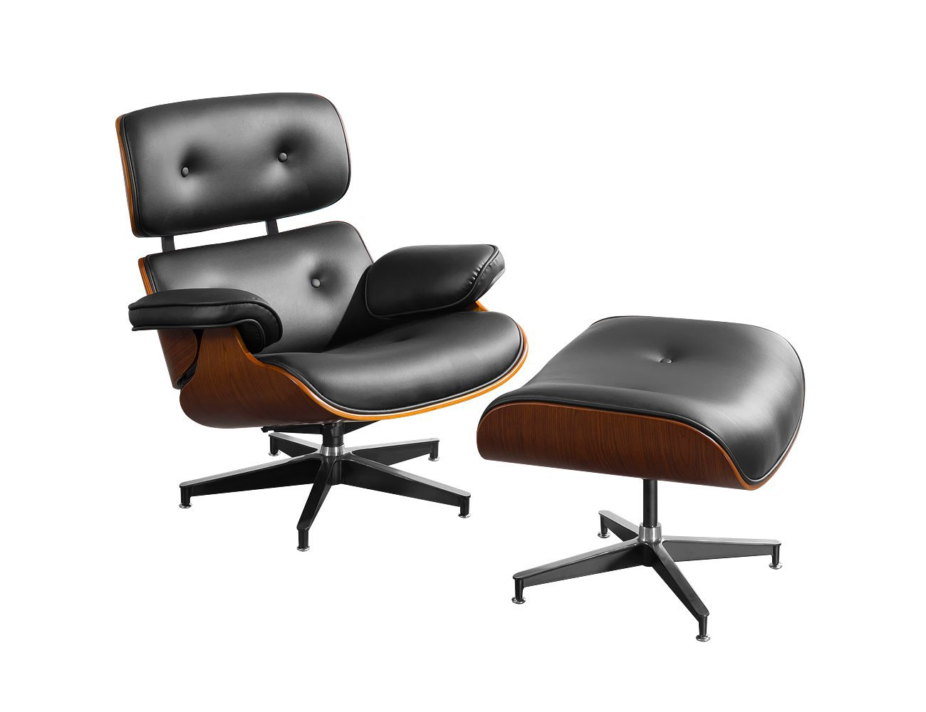 Replica Eames Chair with Ottoman - Black/Walnut