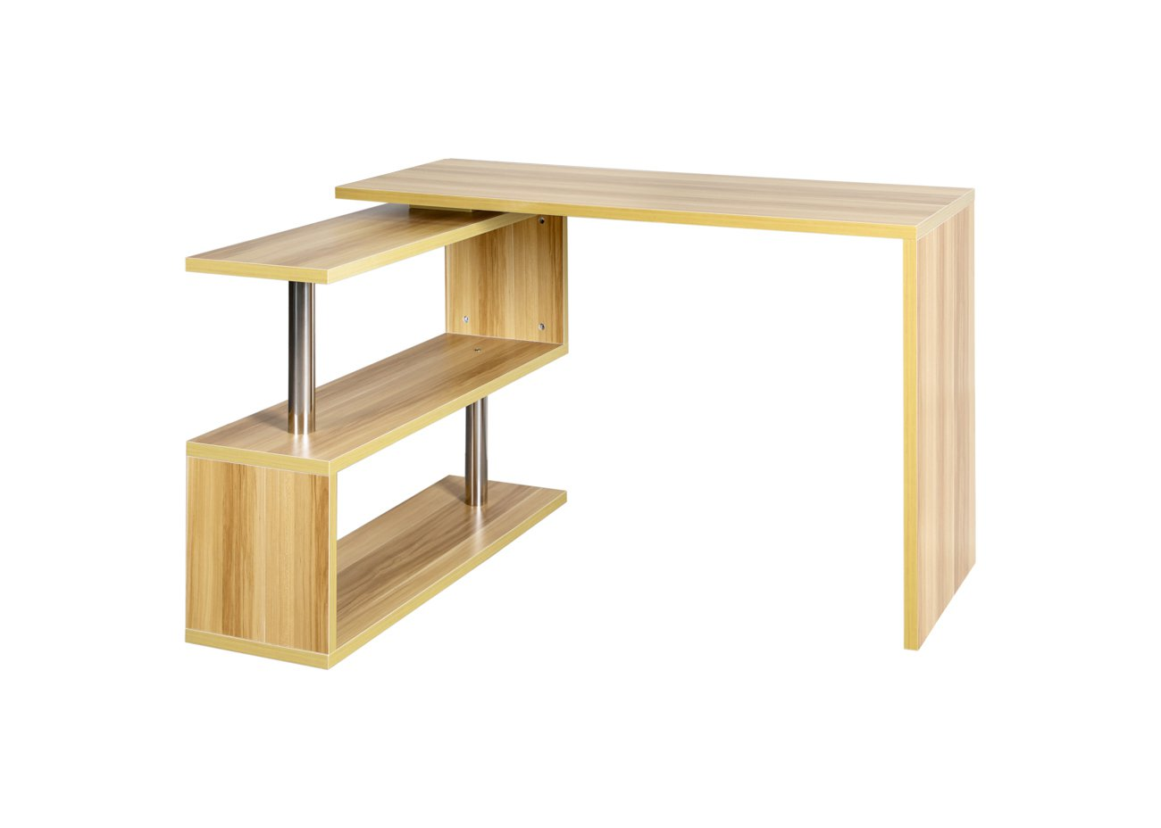 Rotatable Computer Desk & Shelf - Natural