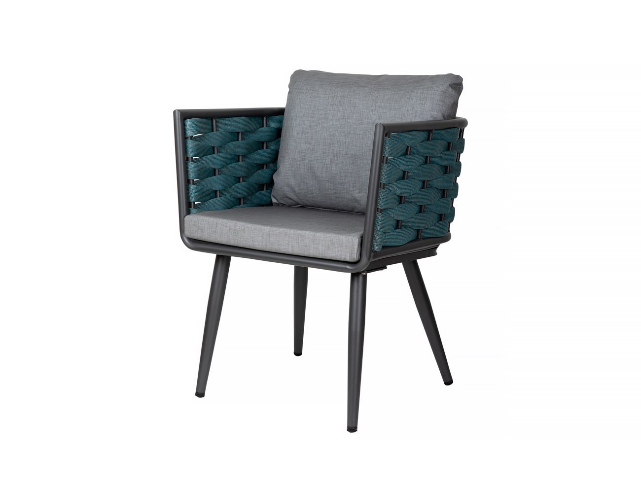 Silvereye Aluminium Rope Dining Chair - Charcoal