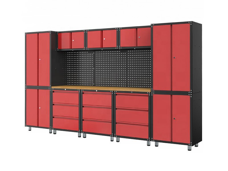 Modular Garage Cabinet and Wooden Workbench Set