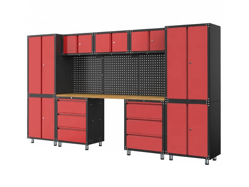 Multi-Unit Garage Cabinet & Wooden Workbench