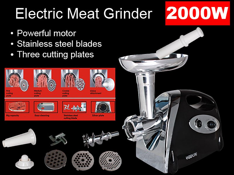 2000W Electronic Meat Mincer/Sausage Maker - Black