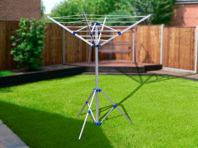 Portable Umbrella Clothesline with Tripod Base