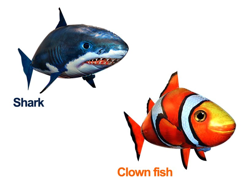 Air swimming shark clown fish remote control crazy sales for Remote control air swimming fish