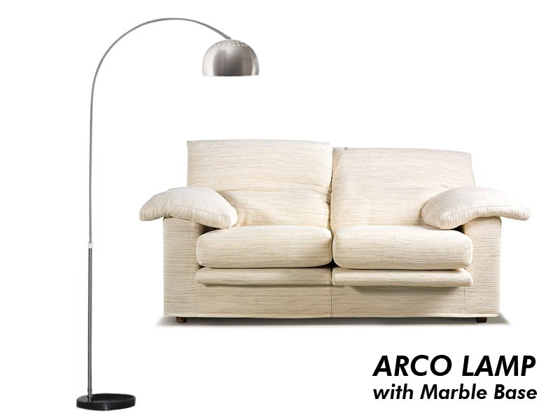 ARCO Style Floor Lamp with Black Marble Base