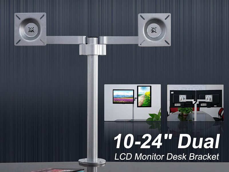 "Dual LCD Monitor Desk Bracket 10""-24"""